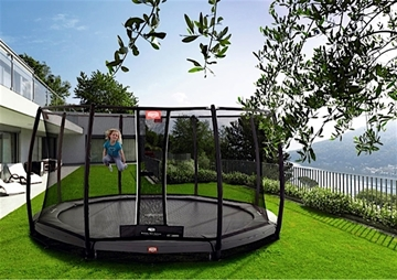 Afbeeldingen van Berg InGround Champion trampoline 380 GREY + Safety Deluxe