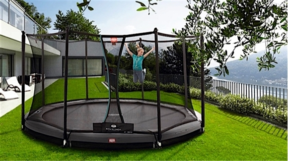 Afbeeldingen van Berg InGround Champion trampoline 430 GREY + Safety Net Comfort